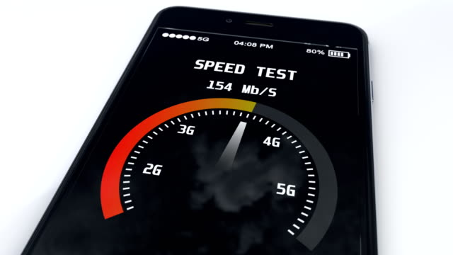 5g technology mobile sim card and speed test in 5g network, result on screen video