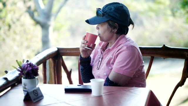 60-70years  active seniors enjoy coffee - 60 69 anni video stock e b–roll