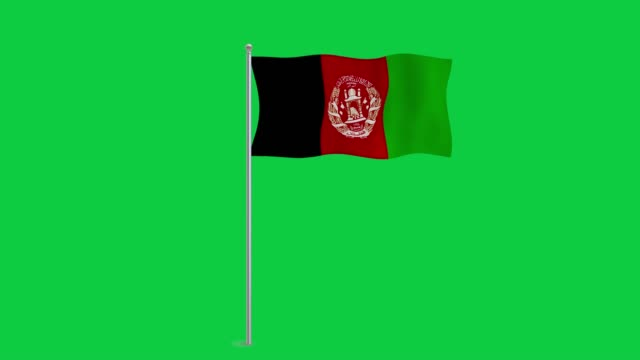 4K 60fps National Animated Sign of  Afghanistan Green screen