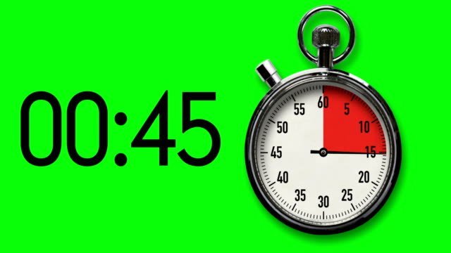60-Second Stopwatch Countdown on Chroma Key background with digital readout