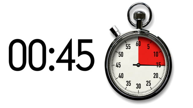 60-Second Stopwatch Countdown on White with digital readout Time-lapse of stopwatch on white background counting down in red to 60-second deadline along with digital countdown readout. instrument of time stock videos & royalty-free footage