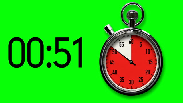 60-Second Stopwatch Reverse Countdown on Chroma Key Background with digital readout Time-lapse of stopwatch on Chroma Key background as it counts down in red to a 60-second deadline corresponding with digital readout. timer stock videos & royalty-free footage