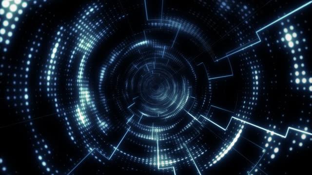 円形ライトを移動するトンネル内の 6 秒ループ - デジタル合成点の映像素材/bロール
