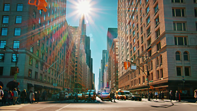 6th Avenue. Classic View. Retro style. Pedestrian. Yellow Taxi. Sun. 2019. Creative. Financial Building.