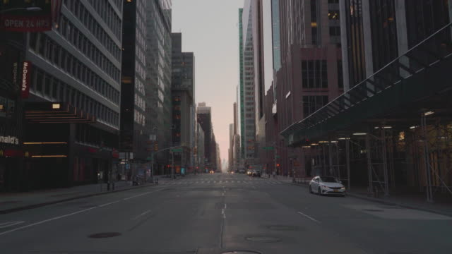 6th Avenue, one of the most crowded destinations in New York City, abandoned due to the COVID-19 pandemic outbreak.