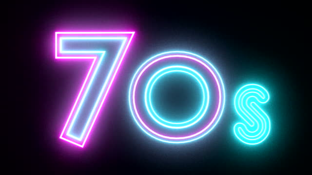 70s neon sign lights logo text glowing multicolor video