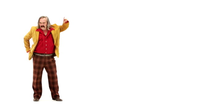 70s vintage dancing man isolated on white 103BPM video HD video