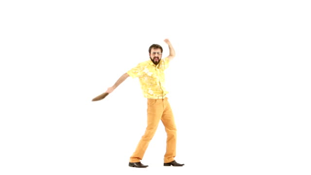 70s vintage exaggerate dancing man white isolated 103bpm video HD video