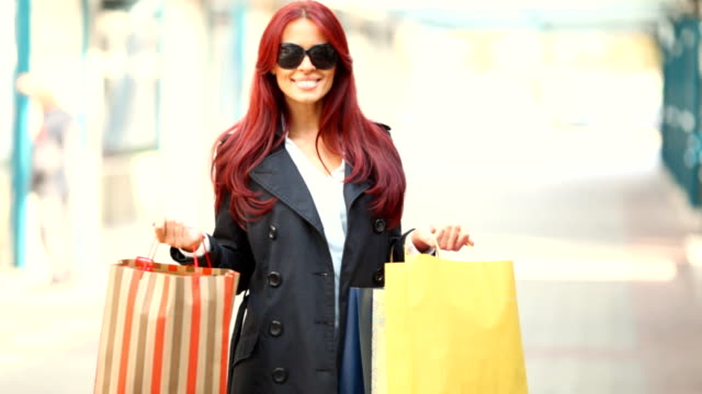 HD 720:Happy woman after shopping video