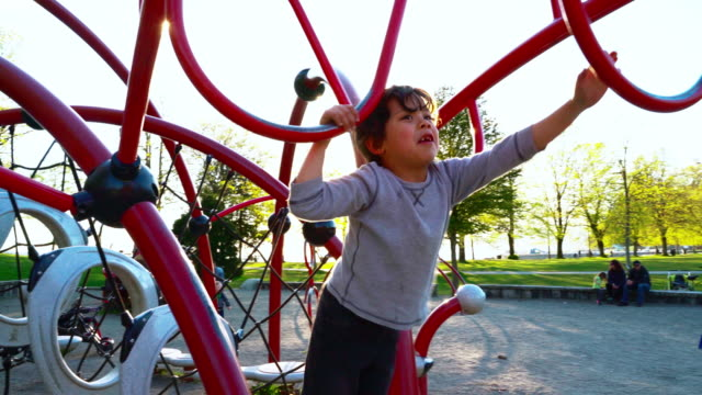 7-years-old boy playing at the playground in Stanley Park, Vancouver, British Columbia, Canada. The warm sunny spring day.