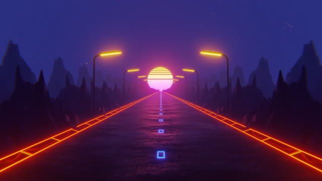 80s fluorescent visual background. Night road