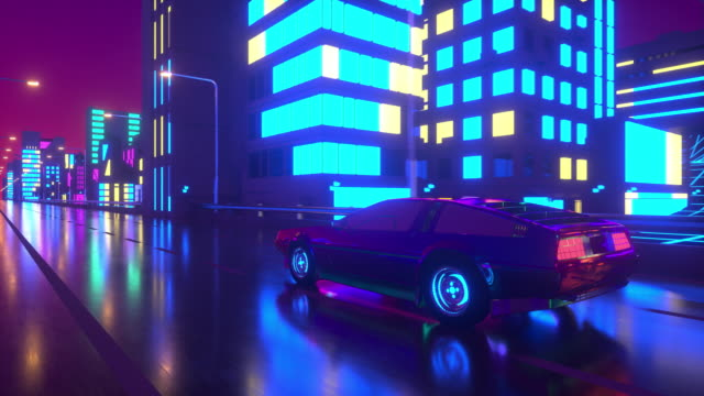 80s retro background 3d loop animation. Futuristic car drive through neon city.