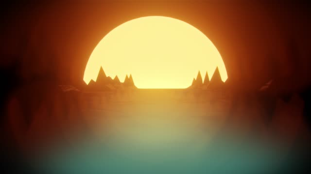 80s retro dark night background 3D animation. Retrowave wireframe horizon with moon lights and low poly terrain render. video