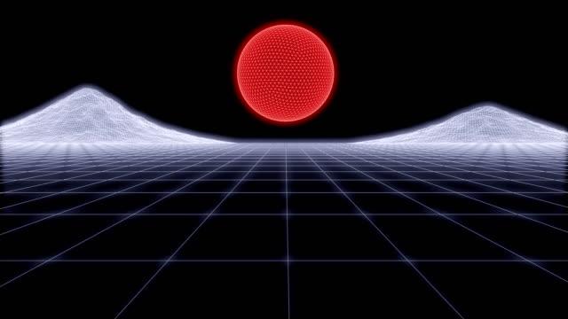 80s Retro Futurism Background Loop 3d render