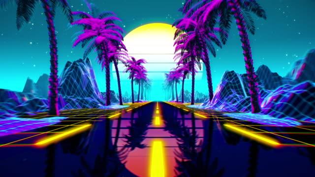 vidéos et rushes de boucle transparente rétro-fiction futuriste des années 80. paysage de vj avec des lumières de néon - synthétiseur