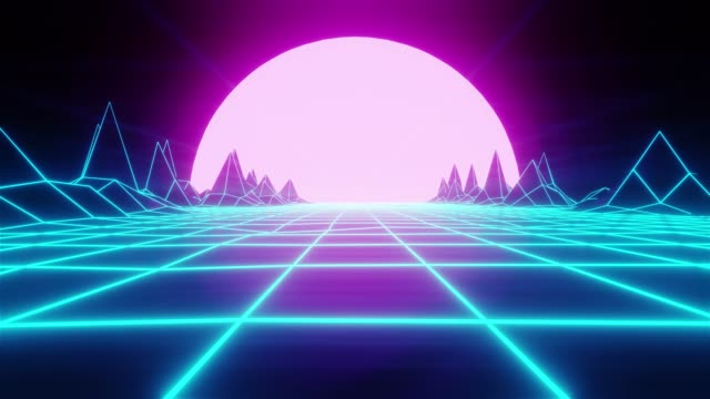 80s retro wireframe 3D Render background animation. Retrowave horizon landscape with bright moon and neon lights and low poly terrain. video