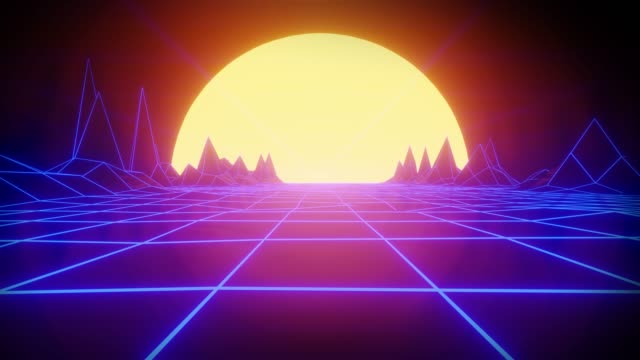 80s retro wireframe 3D Render background animation. Retrowave horizon landscape with bright sun and neon lights and low poly terrain. video