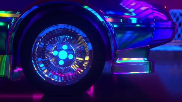 80s retrowave background 3d animation. Futuristic neon car wheel close up.