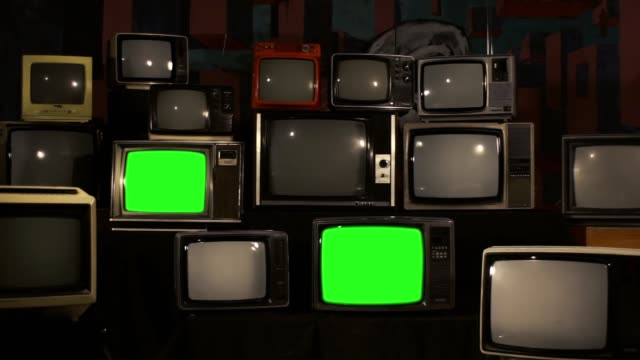80s Televisions with Green Screens that Turn On. Gold Tobacco Tone