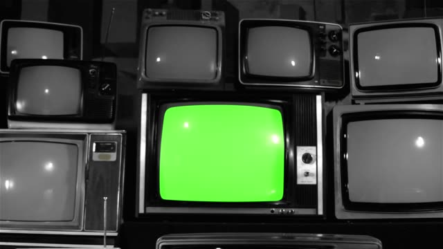 "80s TV Green Screen with Many 80s Tvs. Dolly In. Noir Tone 80s TV Green Screen with Many 80s Tvs. Dolly In. Noir Tone. Ready to Replace Green Screen With any Footage or Picture you Want. You Can Do it With ""Keying"" (Chroma Key) Effect. Full HD. the past stock videos & royalty-free footage"