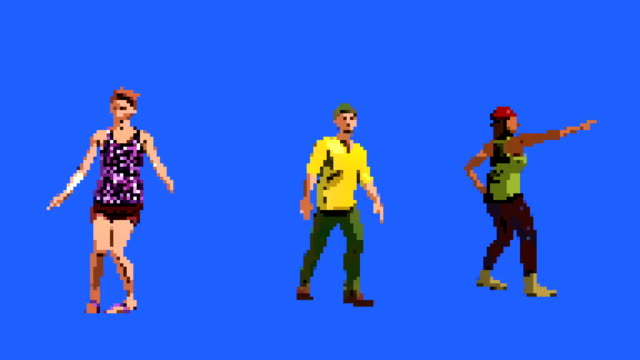 8-bit people dancing on a blue screen background - gaming filmów i materiałów b-roll