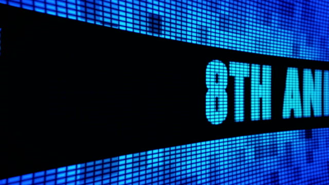 vídeos de stock e filmes b-roll de 8th anniversary side text scrolling led wall pannel display sign board - aniversário especial