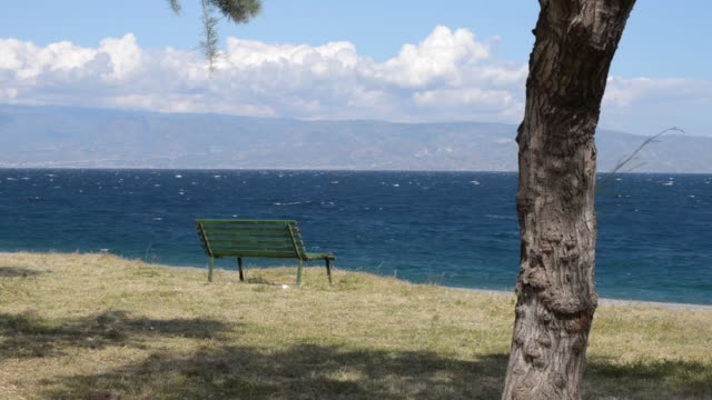 a bench by the sea