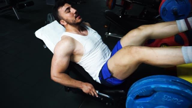 vídeos de stock e filmes b-roll de a bodybuilder doing leg exercise at the gym - músculo humano