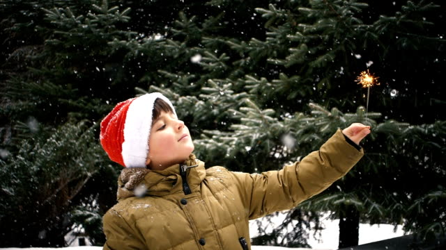 a boy on a background of falling snowflakes looks at a sparkler fire video
