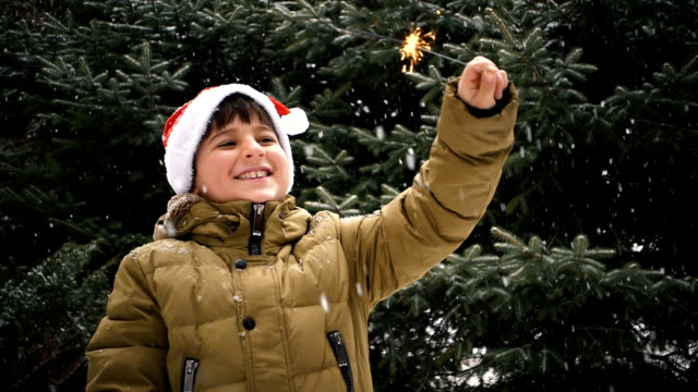 a boy on a background of fir trees and snow looking at a sparkler fire video