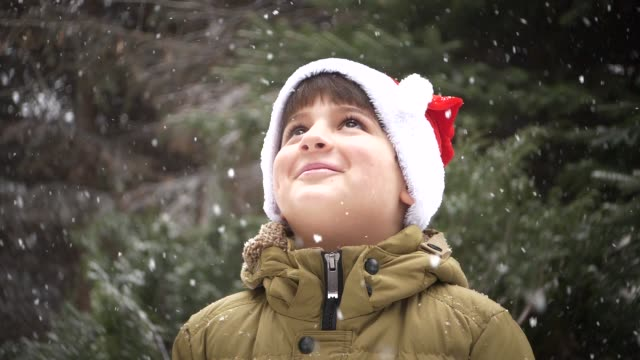 a child in a Santa Claus hat rejoices in the falling snow video