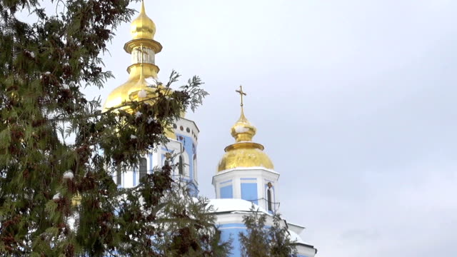 a Dome of the St. Michael's Golden-Domed Cathedral in Kiev video