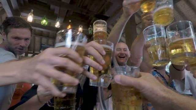幸せな人々 が応援とビールのグラスで乾杯のグループのpov - 飲み会点の映像素材/bロール