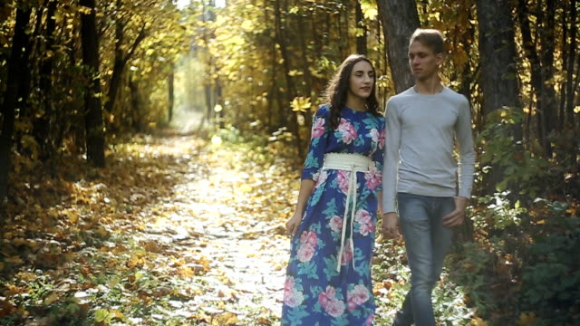 bir adam ve bir kız sonbahar park, aşık bir çift yürümek - i̇nsan sırtı stok videoları ve detay görüntü çekimi