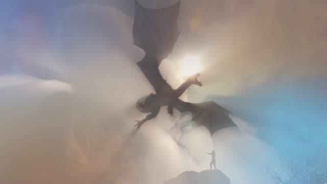 a knight fighting dragon, dragon versus man 3D render