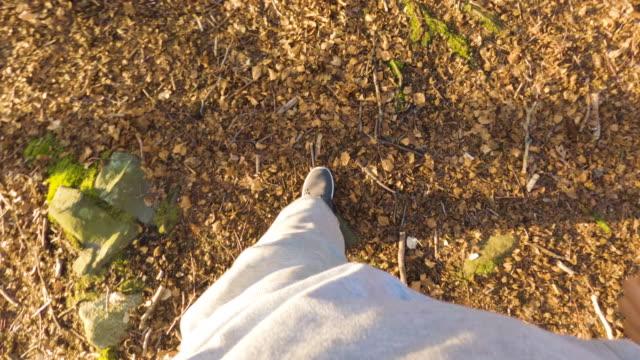 vídeos y material grabado en eventos de stock de pov de un hombre trotando al aire libre - sudadera