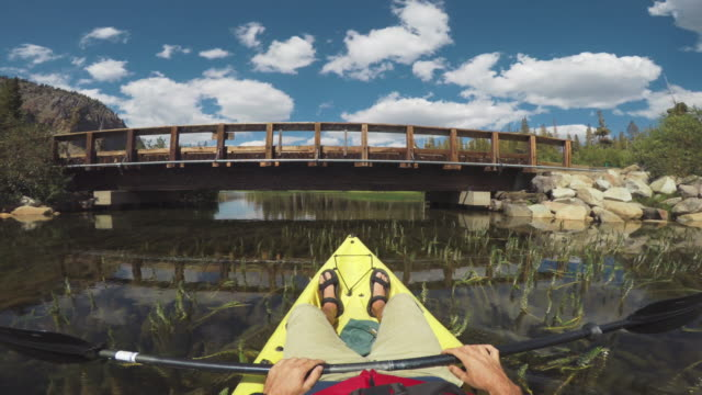 POV of a man kayaking in a calm lake: under the bridge