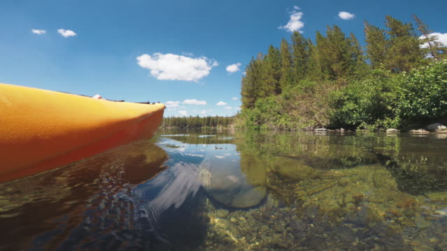 POV of a man kayaking in a calm lake