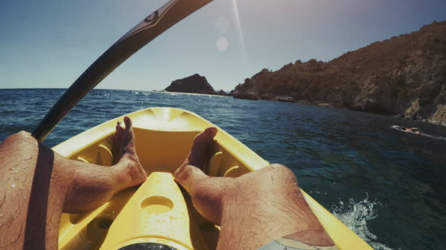 POV of a man kayaking in a summer sea video