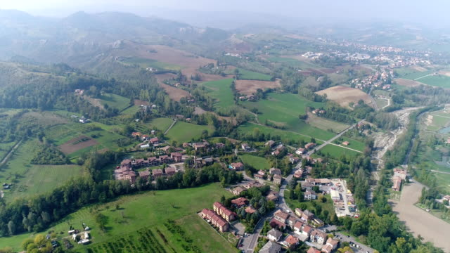 a small ancient Italian city, an Italian village from the air, a road in the mountains video