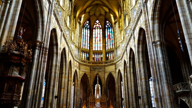 a tilt up shot of interior front of st vitus cathedral in prague - cathedrals stock videos & royalty-free footage