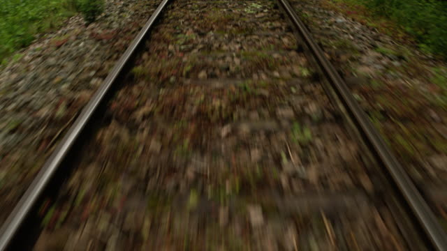 POV of a train traveling down the tracks