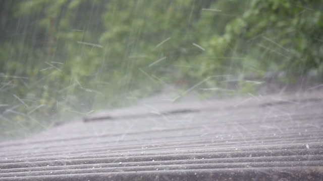 vídeos de stock e filmes b-roll de a tropical downpour with hail in the spring - telhado