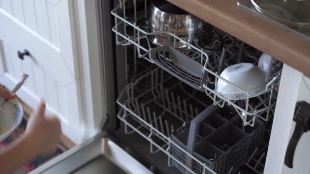 eine frau öffnet eine spülmaschine und legt einen schmutzigen teller hinein - nutztier oder haustier stock-videos und b-roll-filmmaterial
