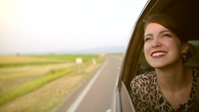 a young woman travels on vacation a young woman travels on vacation luxury car stock videos & royalty-free footage