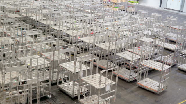 Aalsmeer Netherland April 28 2017: Lots of empty carts inside the warehouse video
