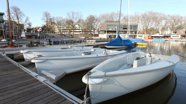 Aaseeterrassen with boats in Münster (Aasee) video