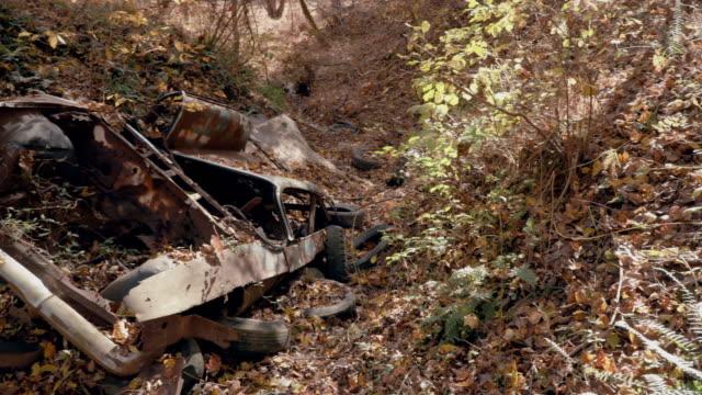森の中の放棄されたアンティークカー - 古くて錆びた - 残骸点の映像素材/bロール