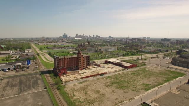 Abandoned Building Detroit Aerial video