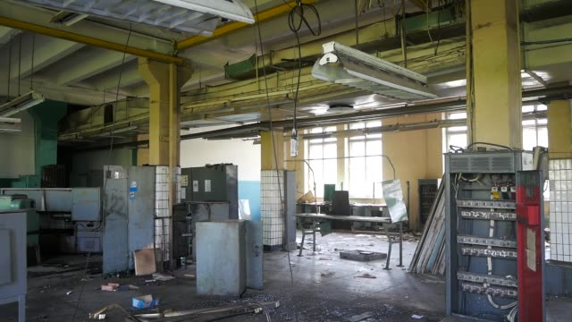Abandoned building interior. The old factory building prior to demolition. Abandoned building interior. The old factory building prior to demolition. bankruptcy stock videos & royalty-free footage